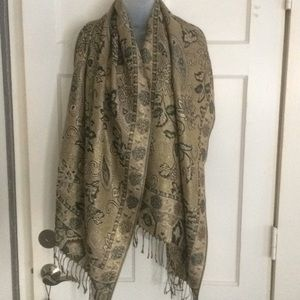 Gold and Navy print scarf
